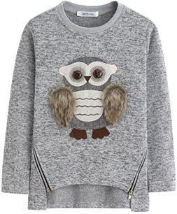 AuroraBaby Little Big Girls Sweatshirts Adorable Fuzzy Owl P