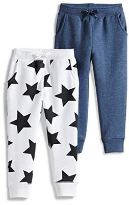 Spotted Zebra Girls' Big 2-Pack Fleece Jogger Pants, Star/Bl