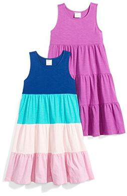 Spotted Zebra Little Girls' 2-Pack Knit Sleeveless Tiered Dr