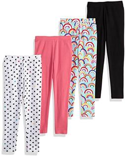 Spotted Zebra Little Girls' 4-Pack Leggings, Rainbows/Stars,