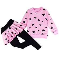 DDSOL Little Girls Clothing Set Outfit Heart Print Hoodie To