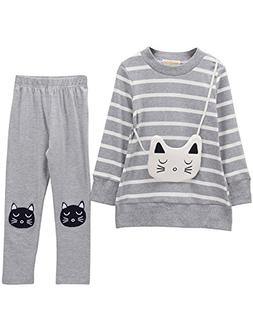 Little Girls Cute Long Sleeve Top & Pant Clothes Set Grey Ca