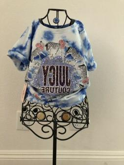 Juicy Couture Little Girls Size 7-8 Blue Tie-Dye Top