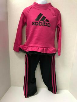 adidas Little Girls Sweatshirt and 3 stripe Jogger Track Sui
