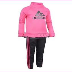 Adidas Little Girls Sweatshirt & 3 stripe Jogger Track Suit