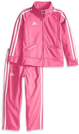 adidas Little Girls' Tricot Zip Jacket and Pant Set, Pink Ba