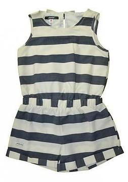 Kensie Little Girls Vanilla & Blue Striped Romper Size 2T 3T