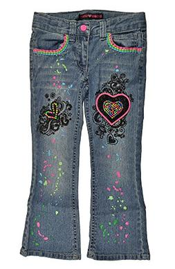 U Glow Girl Little Girls Denim Blue Heart Patch Move Me Ligh