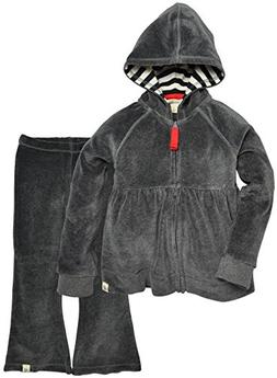 Burt's Bees Baby Little Girls' Hoodie and Pant Set -Charcoal