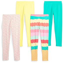 Spotted Zebra Girls' Little 4-Pack Leggings, Sweets, Small