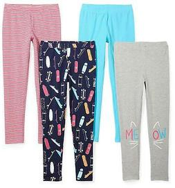 Spotted Zebra Girls' Little 4-Pack Leggings, Skate, X-Small