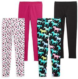 Spotted Zebra Little Girls' 4-Pack Leggings, Horses, Small