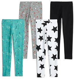 Spotted Zebra Girls' Big 4-Pack Leggings, Super Star, Large