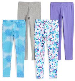 Spotted Zebra Girls' Little 4-Pack Leggings, Soccer, X-Small