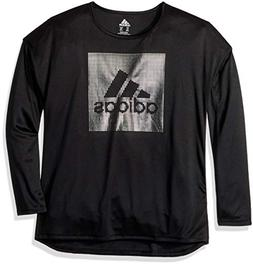 adidas Girls' Little Long Sleeve Logo Tee, Black Heather, 4T