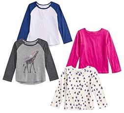 Spotted Zebra Girls' Little 4-Pack Long-Sleeve T-Shirts, Ani