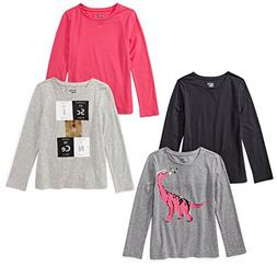 Spotted Zebra Little Girls' 4-Pack Long-Sleeve T-Shirts, Sci