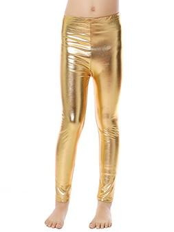 Aaronano Little Girls' Metallic Color Shiny Stretch Leggings