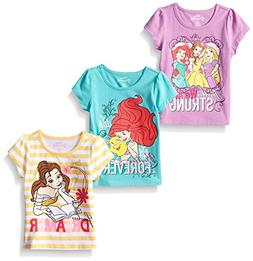 Disney Little Girls' 3 Pack Princess T-Shirts, Yellow, 3T