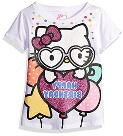 Hello Kitty Little Girls' Toddler Happy Birthday T-Shirt, Wh