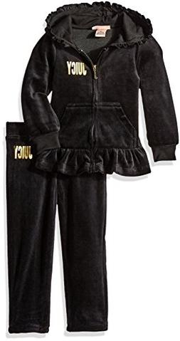 Juicy Couture Little Girls Toddler 2 Piece Velour Hooded Jac
