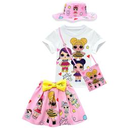 LOL Big Surprise Doll Girls Tee Top+Skirt+Hat+Bag Summer Par