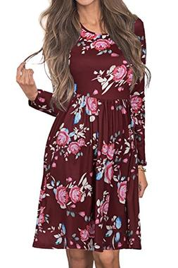 Angerella Women's Long Sleeve Floral Printed Casual Swing Pl