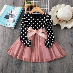 Long Sleeves Girl Dress Party  Tutu Princess Girls Clothes B