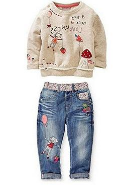 Kids Baby Girl Children Floral Long T-Shirt Top+Jean Pants S