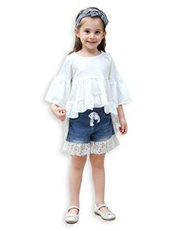 21KIDS Girls Loose Trumpet Sleeves Asymmetrical Flounces Boh