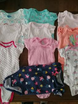 Lot of 11 Baby girls Clothing One Piece Shorts Size 6-9 Mont