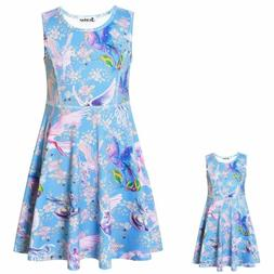 Jxstar Matching Girls  Doll Flower Dresses Sleeveless Summer