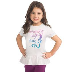 Fin Fun Mermaid Girls Mermaid Hair Don't Care Peplum Tee, Wh