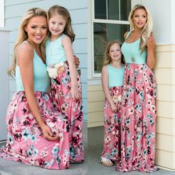 Mother Daughter Family Matching Dress Mommy and Me Floral Ma