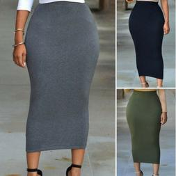 Muslim Thick Skirt Bodycon Slim High Waist Stretch Long Maxi