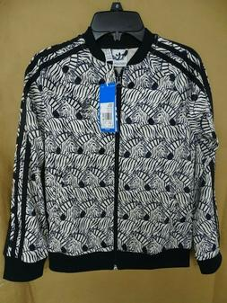 NEW adidas Big Girls Superstar Track Jacket Zebra-Print Velo