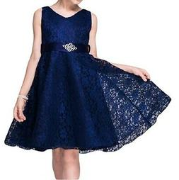 21Kids NEW Girls Blue Size 10 Floral-Lace Fit N Flare Belted