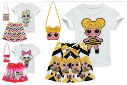 New Girls Lol Surprise Doll T shirts&Pleated skirt Outfits C