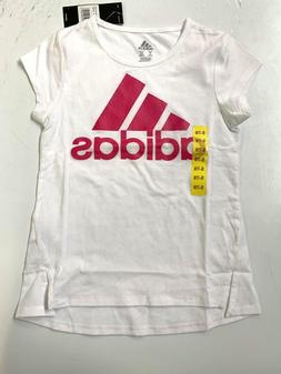 NEW Adidas Girls' Short Sleeve Tee - WHITE PINK