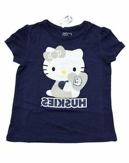 NEW GIRLS TODDLERS HELLO KITTY T-SHIRT HUSKIES HEART BLUE UC