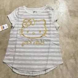 NEW girls youth hello kitty striped gold glitter t-shirt sho