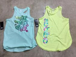 NEW girls youth adidas tank tops neon blue green medium larg