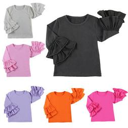 New Icing Ruffle T-shirt Baby Kids Girls Solid Tops Long Sle