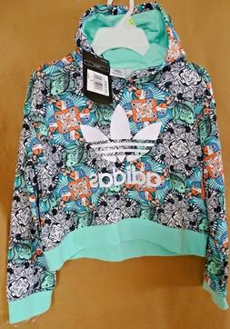NEW adidas Originals Big Girls Cropped Zoo-Print Hoodie S,L