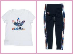 New adidas Originals GIRL'S Youth FLORAL TREFOIL TEE & LEGGI