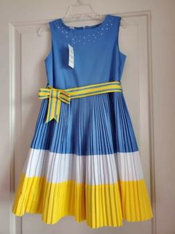 NEW THE CHILDREN'S PLACE KIDS GIRLS DRESS, BLUE/YELLOW/WHITE