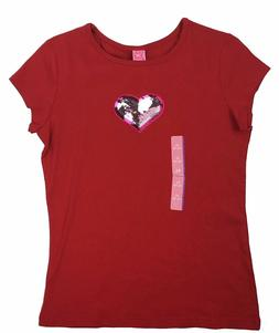 NEW Girls Tee XL 14/16 red heart sequins graphic design t-sh