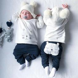 Newborn Baby Boys Girls 3D Bear Warm Tops Sweater Long Pants