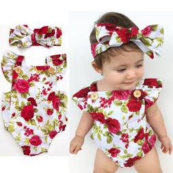 Newborn Baby Girl Clothes Flower Jumpsuit Romper Bodysuit  +