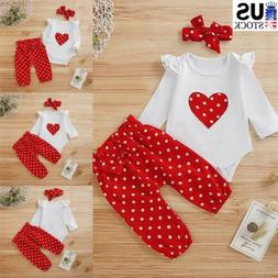 Newborn Baby Girls Clothes Polka Dot Romper Bodysuit+Pants H